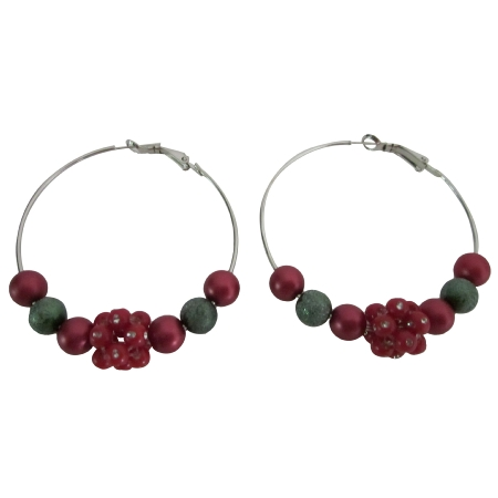 Hoop Earrings Christmas Earrings Fancy Beads Red Green Flower Beads