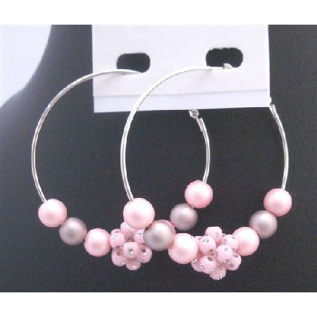 Soothing Pure Pink Hoop Earrings Fancy Pink Bead Flower & Cubic Zircon