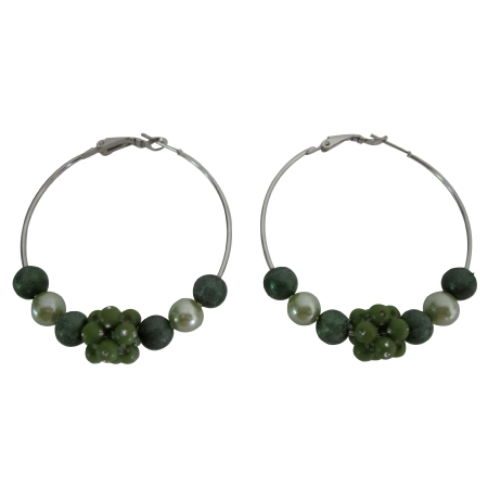 Fashionable Fabulous Hoop Earrings Dark Green Beads Hoop Earrings