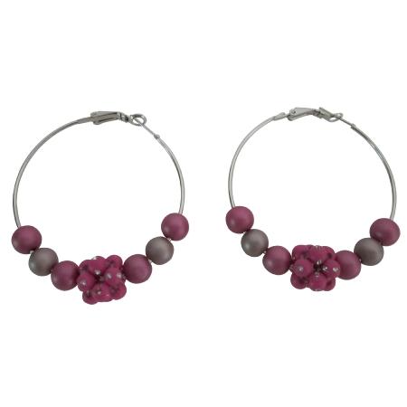 Pink Beads Hoop Earrings Beautiful Pink Fancy Beads Sparkling Earrings