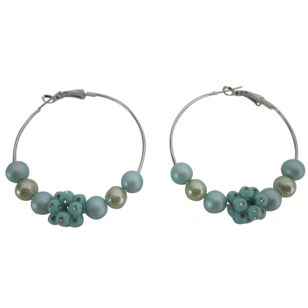 Lite Blue Fancy Bead Earrings Fashionable Pretty Fabulous Hoop Earring