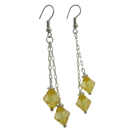 Yellow Crystal Dangling Earrings String Stylish Earrings
