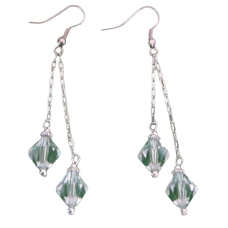 Clear Crystals Double Strings Chandelier Silver Dangling Earrings