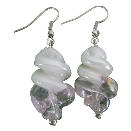 White Pink Twisted Stylish Fashionable Earrings Dangling Earrings