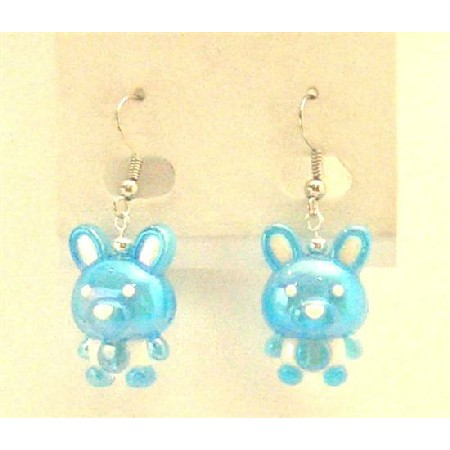Easter Bunny Rabbit Jewelry Enameled Blue & White Cute Bunny Earrings