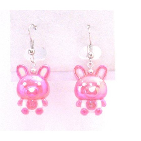 Easter Bunny Dangle Pierced Fuchsia Bunny Rabbit Earrings Jewelry