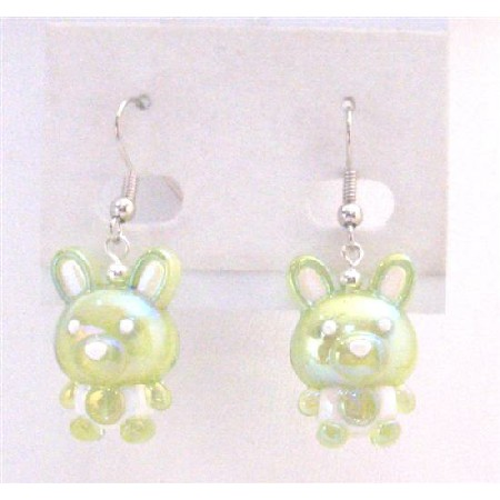 Enameled Green Bunny Easter Rabbit Earrings Rabbit Holiday Jewelry