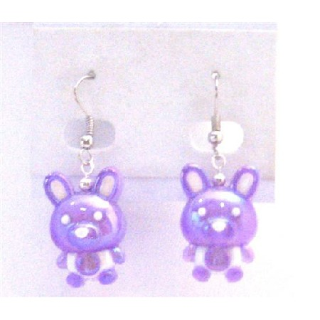 Fancy Purple Bunny Rabbit Earrings Easter Bunny Rabbit Holiday Jewelry