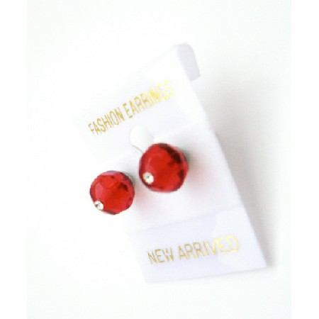Chinese Lite siam Crystals Stud Earrings Gift Stud In Any Color