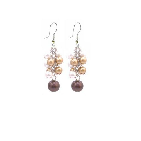 Multicolor Pearls Dangling Bunches Earrings Gorgeous Pearls Earrings