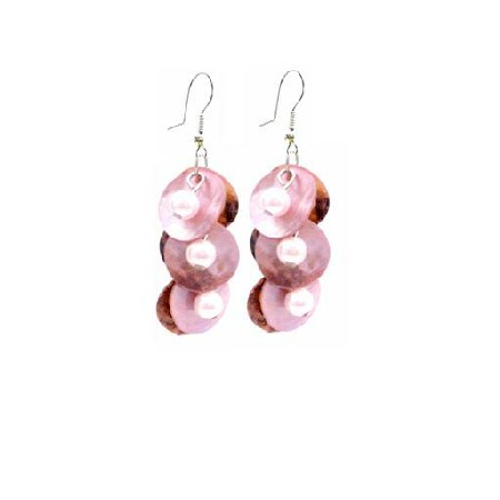 Shell Jewelry Mop Shell Danling Pink Shell & Pearls Earrings