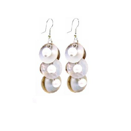 Cheap Jewelry Shell Fashionable Earrings Natural Mopa Shell Earrings