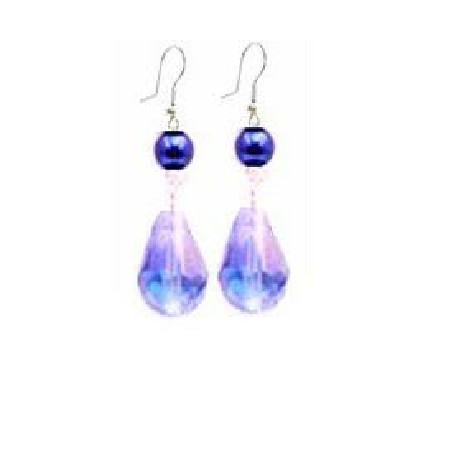 Return Gift Lite Sapphire AB Coated Teardrop & Blue Pearl Earrings