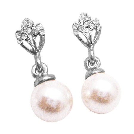 Bridal Wedding Ivory Pearl Dangling Diamante Stud Embedded Earrings
