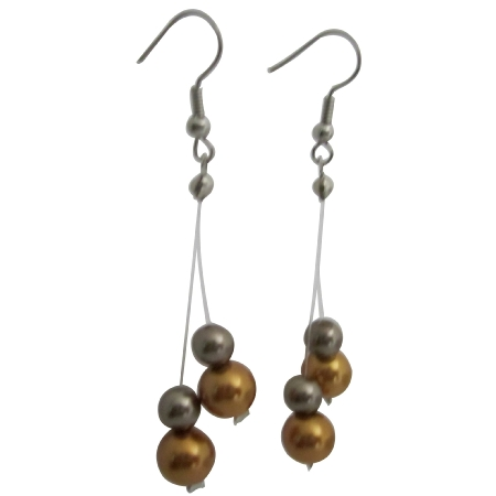 Affordable Wedding Jewelry Gold & Brown Pearls Dangling Earrings