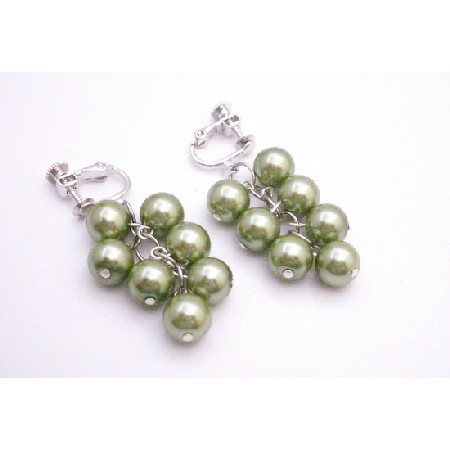 Clip On Earrings Pistachio Green Faux Pearls Dangling Earrings Jewelry