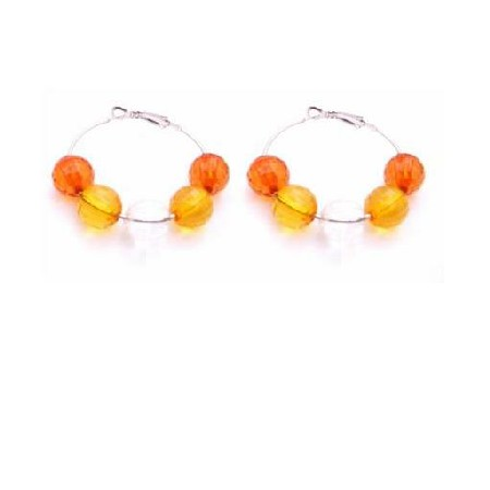 Girls Fancy Affordable Jewelry Pumpkin Orange Glass Beads Hoop Earring