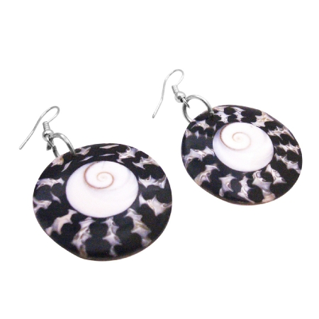 Shopping Circle Shell Earrings w/ Shiva Eye At Center Gift Earrings