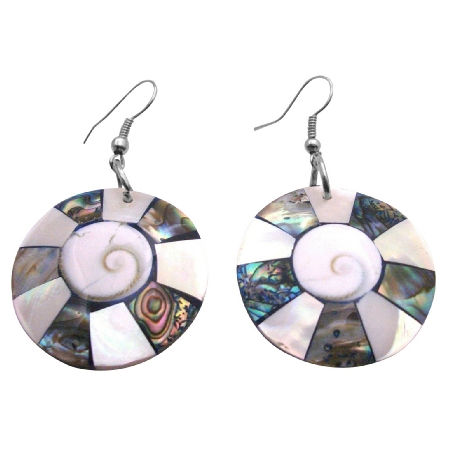 Mother Of Pearls Inlaid Abalone Natural Shell w/ Shiva Eye At Center