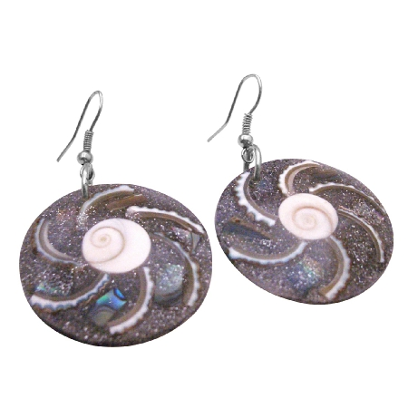 Natural Round Resin Shell Earrings Vintage Shiva Eye Jewelry