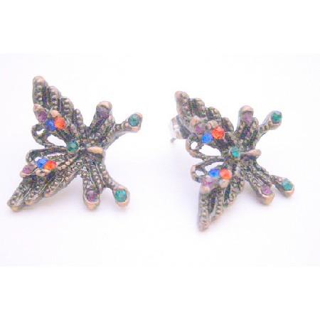 Multicolored Crystals Black Oxidized Butterfly Pierced Earrings