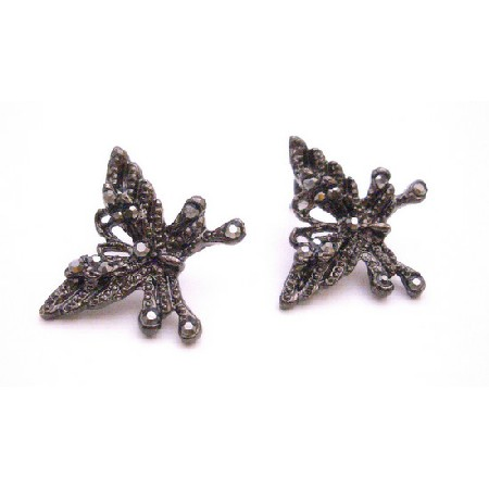 Black Oxidized Butterfly Earrings w/ AB Jet Cubic Zircon Embedded