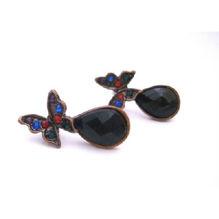 Copper Oxidized Butterfly Multicolored Crystals & Onyx Stone At Bottom