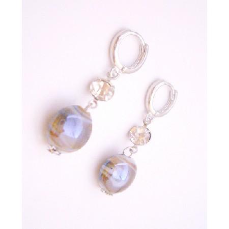 Leverback Earrings Millefiori Inexpensive Cubic Zircon Stud Earrings