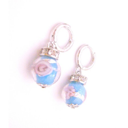 Blue Millefiori Fashionable Inexpensive Earrings Return Gift