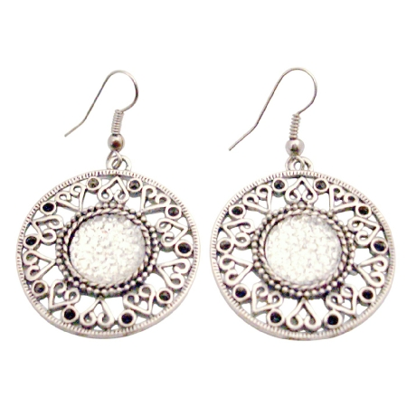 Silver Metal Round Earrings Dangle Ethnic Design Shimmered Acrylic