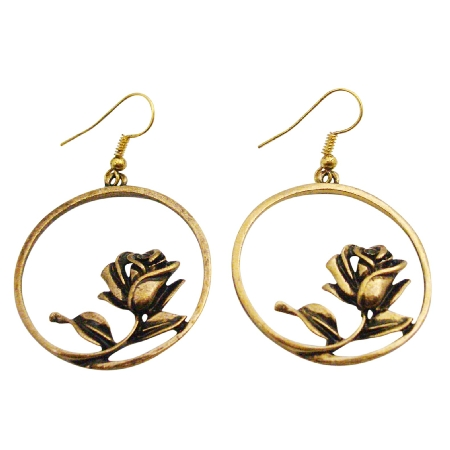 Gold Metal Dangle Earrings w/ Artistically Rose Designed Earrings