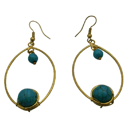 Winsome Jewelry Vintage Turquoise Gold Oxidized Hoop Dangling Earrings