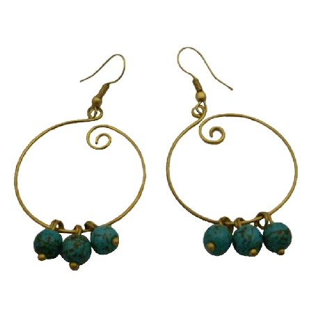 Gold Hoop Style Timeless Fashionable Turquoise Beads Dangling Earrings
