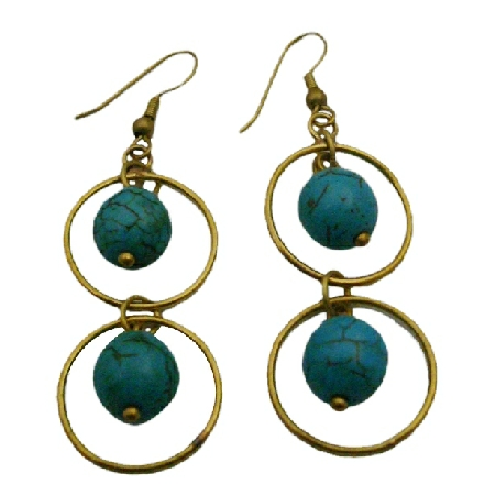 Get Trendy Gold Oxidized Jewelry Dangling Ring Style Turquoise Inside