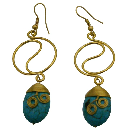 Gold Metal Wire Rings Dangling Flat Turquoise Teardrop Bead Earrings