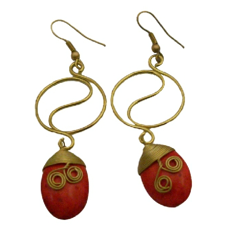 Shop Fabulous Earrings Coral Flat Teardrop Adorable Dangling Earrings