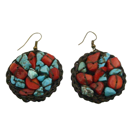 Hand Knitted Turquoise Coral Hippie Women Ring Hoop Dangle Earrings