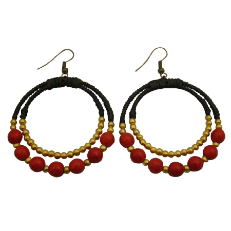 Coral Jewelry For You Or As Gifts Round Circle Coral Dangling Earrings