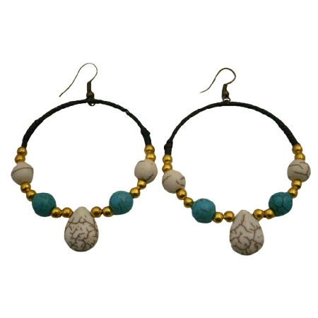 Boho Chic Dangle Turquoise White Turquoise Golden Beads Earrings