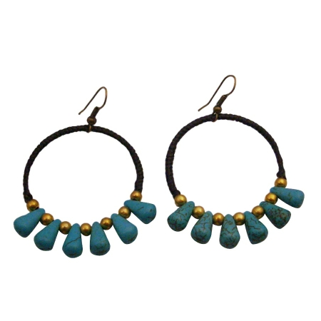 The Stylish Boho Woman Turquoise Teardrop Brass Beads Earrings