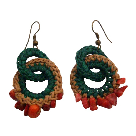 Fantastics Prices For Handmade Crochet Knitted Coral Nugget Earrings