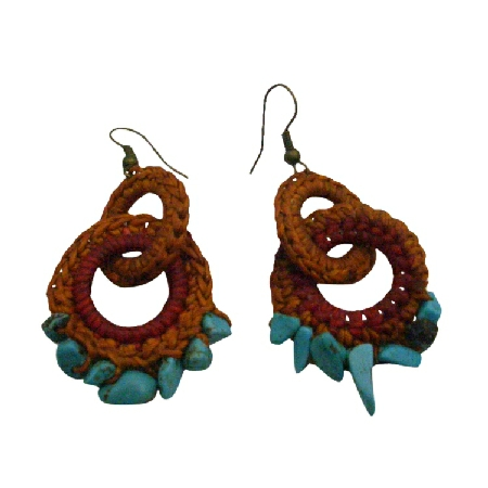 Handknitted Brown Red Crochet Boho Style Latest Hoop Fashion Earrings