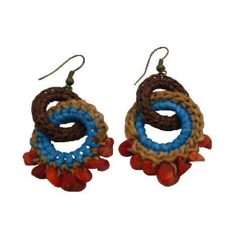 Boho Tribal Hand Knitted Round Brown Latte Blue Coral Nuggets Earrings