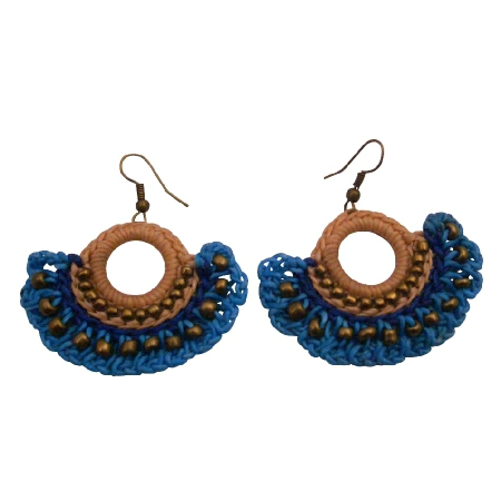 Crochet Knitted Fan Shaped Earrings Champagne Blue Color Brass Beads
