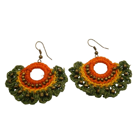 Colorful Fun Bohemain Green Orange Combo Fan Shaped Crochet Earrings