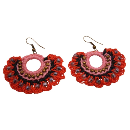 Funky Hippie Crochet Knitted Fan Shaped Red Black Earrings All Season
