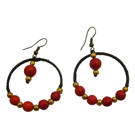 Handmade Round Shaped Crochet Wax Cord Golden & Coral Beads Earrings