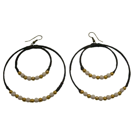 Double Hoop Wax Cord Double Hoop White Turquoise Golden Beads Earrings
