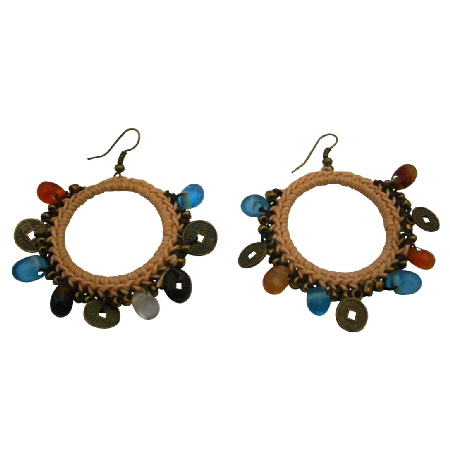 Crochet Round Shaped Knitted Earrings Multicolor Beads Charm Dangling