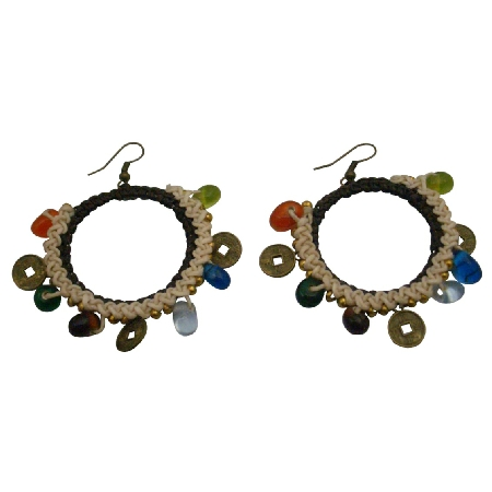 Funky Bohemian Crochet Earrings Champagne Multicolor Beads Coin Beads